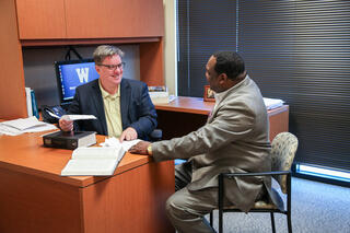WMU-Cooley Professor Brendan Beery talks to law students