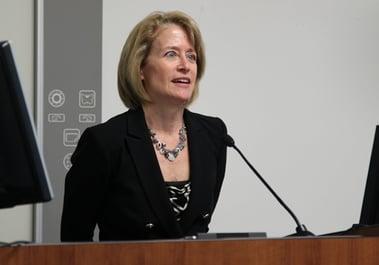 Professor Lauren Rousseau speaking during WMU-Cooley Opioid Crisis Panel Discussion